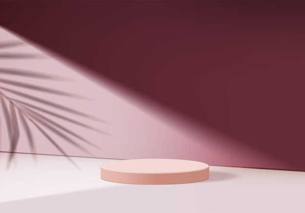 Prodotto display podio con forma geometrica foglia, rendering piedistallo sfondo per piattaforma cosmetica