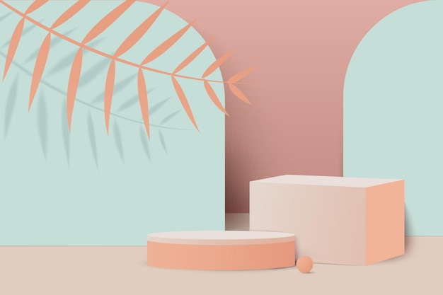 Scena minima del podio con rendering di colori tenui di sfondo geometrico del prodotto