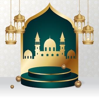 Piedistallo podio per vetrina vendita prodotti decorato con lanterna islamica e moschea