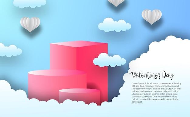 Cilindro di visualizzazione del prodotto podio con scenario di nuvole per il modello di giorno di auguri di san valentino con sfondo blu del cielo