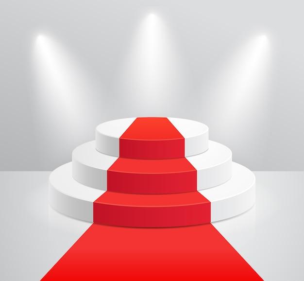 Podio e tappeto rosso con illustrazioni di riflettori
