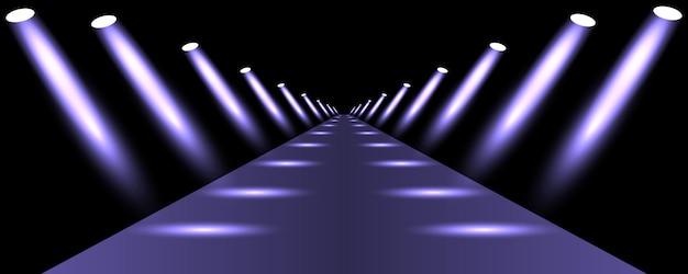 Podio, strada, piedistallo o piattaforma illuminata da faretti su sfondo nero.
