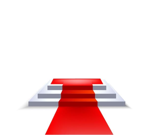 Scena sul podio con tappeto rosso e tre palchi quadrati