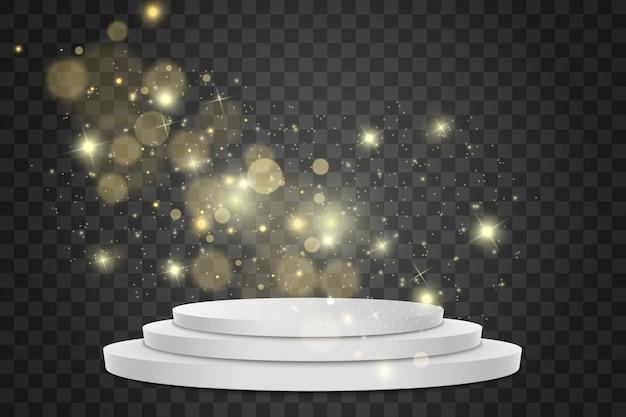 Podio. palco per la cerimonia di premiazione. effetto luce bagliore effetto bokeh, particelle luminose.