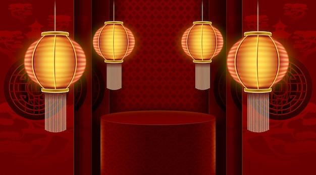 Palcoscenico del podio per il capodanno cinese con arte e artigianato tagliati in carta rossa