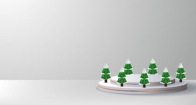 Esposizione del prodotto sul palco del podio per natale e felice anno nuovo con cilindro e pino