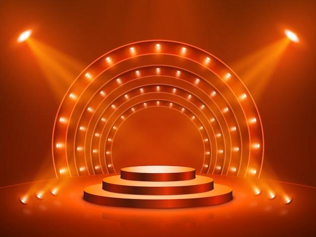 Podio con illuminazione. palco, podio, scena per la cerimonia di premiazione. illustrazione.