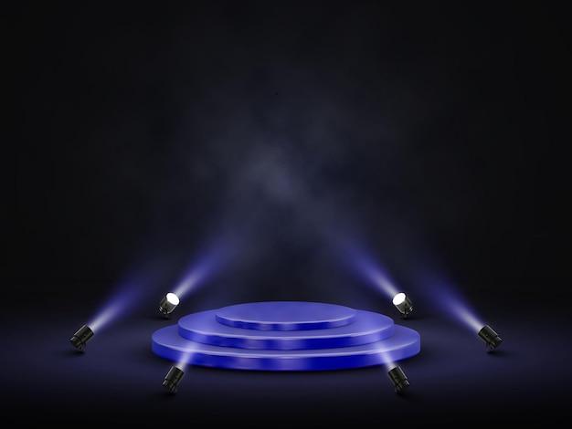 Podio con illuminazione. palcoscenico, podio, scena per la cerimonia di premiazione con faretti. illustrazione vettoriale.