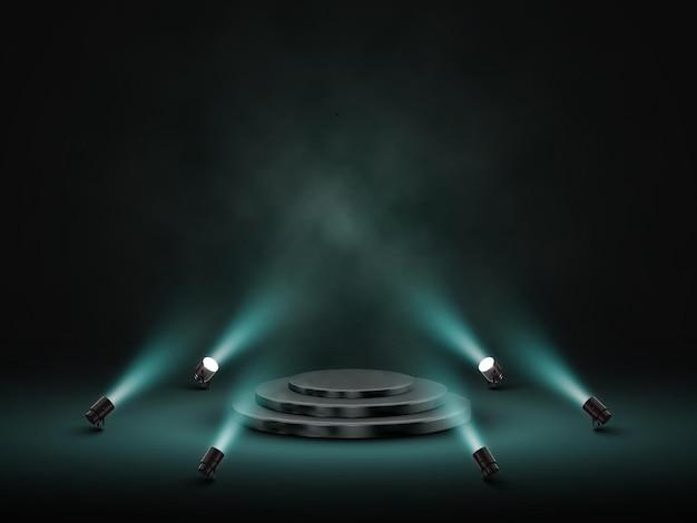 Podio con illuminazione. palco, podio, scena per la cerimonia di premiazione con i riflettori.