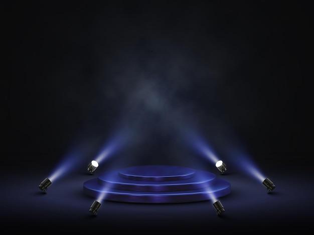 Podio con illuminazione. palco, podio, scena con faretti.