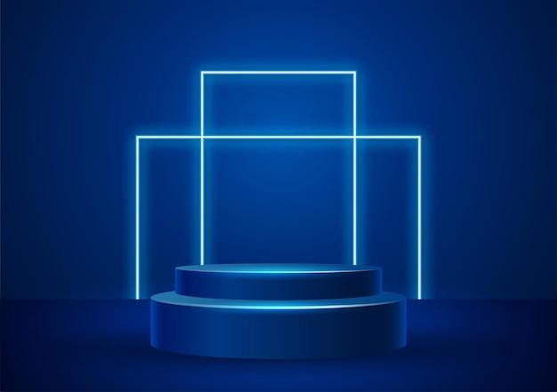 Podio con illustrazione vettoriale di forme di luce al neon