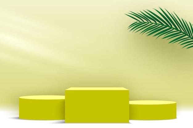 Podio con foglie di palma piedistallo giallo prodotti piattaforma di visualizzazione 3d render stage
