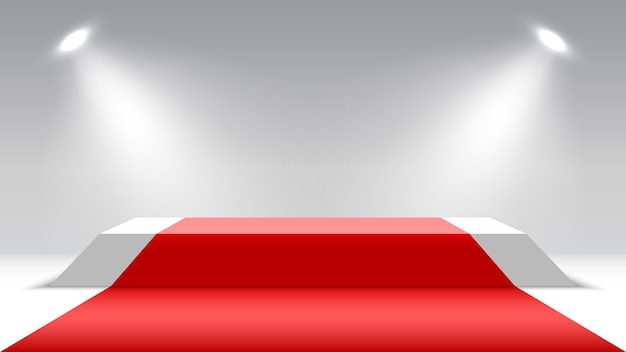 Podio con tappeto rosso e faretti. piedistallo vuoto. palco per la cerimonia di premiazione.