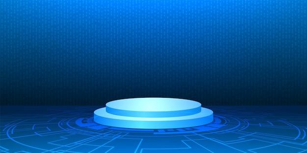 Podio con base del circuito tecnologico, prospettiva tecnologica e sfondo digitale della velocità di trasferimento, sfondo chiaro delle linee di freccia astratte, processo di codifica del computer