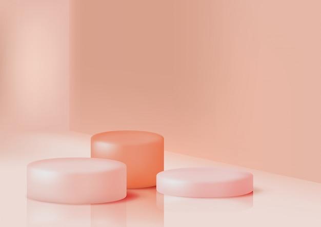 Podi per la presentazione del prodotto in colore rosa pastello, per il design. piattaforme espositive circolari, illustrazione realistica