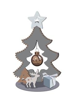 Podvarok e un cervo sullo sfondo di alberi di natale con stelle e un giocattolo per l'albero di natale