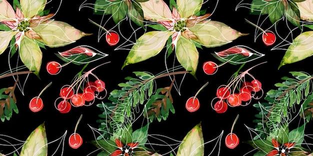 Poinsettia e rami di abete e bacche rosse invernali decorazioni per gli auguri di natale e capodanno