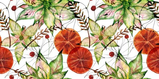 Stella di natale e arance e frutti di bosco d'inverno