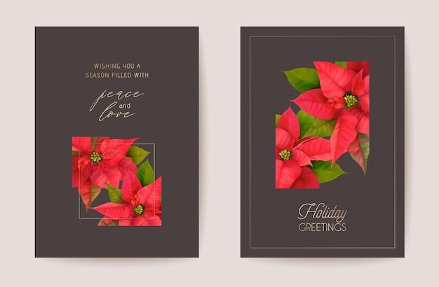 Poinsettia realistico vettore cartolina di natale insieme, floreale felice anno nuovo illustrazione. vischio frame design set, winter 3d flowers saluti, invito, flyer, brochure, copertina