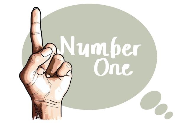 Punta il dito, mano nel segno numero uno