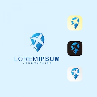 Point plane travel icon premium logo
