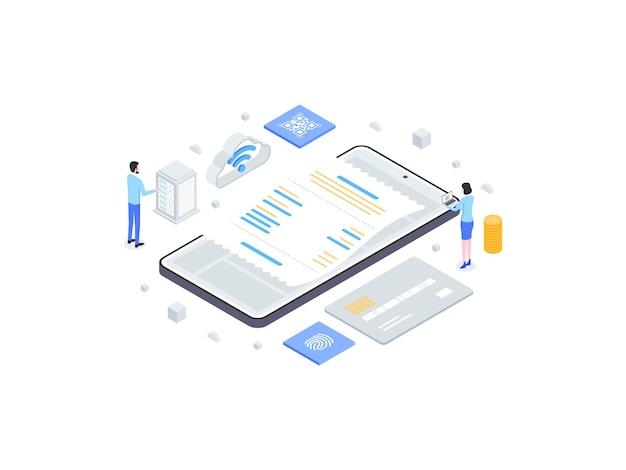 Illustrazione piana isometrica del sistema del punto di vendita. adatto per app mobili, siti web, banner, diagrammi, infografiche e altre risorse grafiche.
