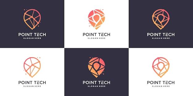 Collezione del logo pointech con uno stile moderno e creativo vettore premium