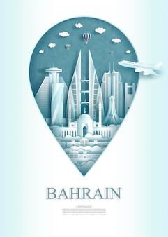 Puntatore del bahrein, architettura del monumento del bahrain del punto di riferimento di viaggio.