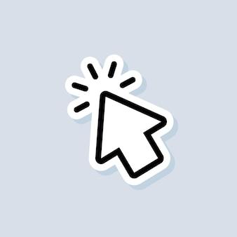 Adesivo icona puntatore. segno del cursore. fare clic sull'icona. mouse del computer, cursori, puntamento. freccia e aspetta. vettore su sfondo isolato. env 10.