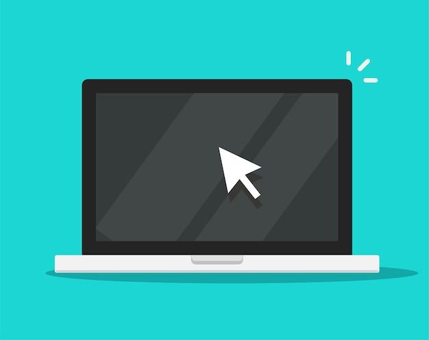Puntatore del cursore del mouse a freccia facendo clic sull'icona dello schermo del computer portatile