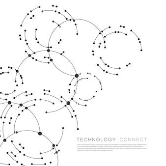 Punti che collegano i cerchi sullo sfondo. astrazione geometrica con linee e punti