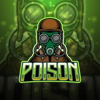 Design del logo della mascotte dell'esportazione di veleno