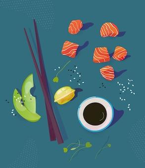 Poke bowl ingredienti illustrazione vettoriale. paci di salmone, avocado, bacchette e salsa di soia. concetto di cibo sano. vista dall'alto