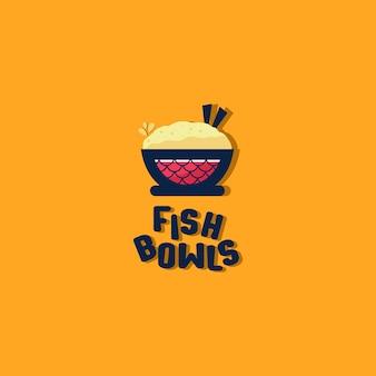 Logo poke bowl, logo del ristorante hawaiano. poke bowls ristorante o bar con cibo di pesce crudo.