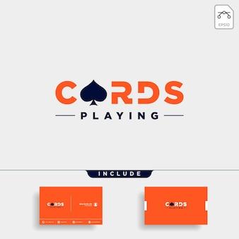 Elemento dell'icona dell'illustrazione di vettore di tipografia del modello di progettazione del logo della carta da poker - vector