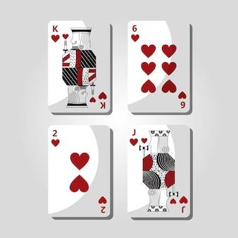 Simbolo di gioco del casinò dei cuori delle carte della mazza
