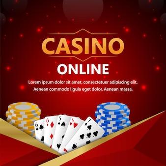 Sfondo di casinò poker con fiches del casinò e carte da gioco
