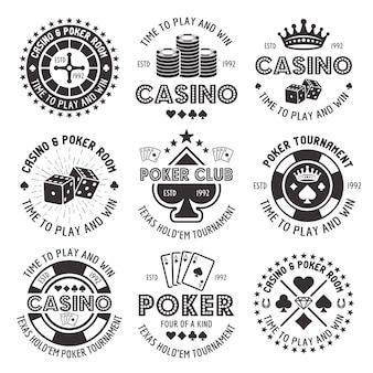 Set di poker e casinò di emblemi di gioco d'azzardo nero di vettore