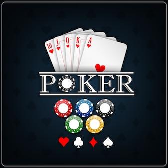 Templater del casinò di poker con carte da poker e fiches del casinò