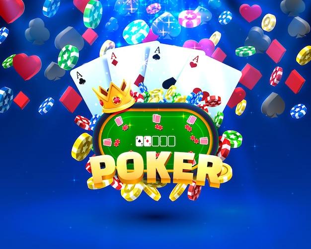Illustrazione del casinò di fiches e carte da poker.