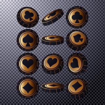 Fiches da poker in posizioni diverse. trucioli d'oro isolati su sfondo trasparente. illustrazione.