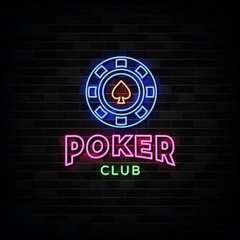 Insegne al neon del club di poker.