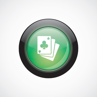 Poker vetro segno icona pulsante lucido verde. pulsante del sito web dell'interfaccia utente