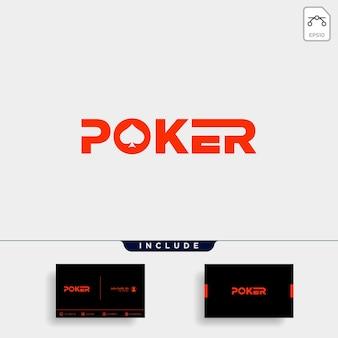 Elemento dell'icona dell'illustrazione di vettore di tipografia del modello di progettazione del logo del poker - vector