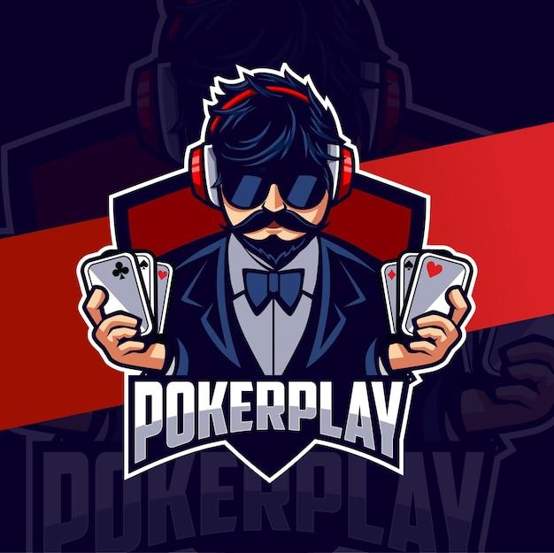 Poker man mascotte esport logo design per gioco e sport