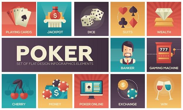 Poker - icone del design piatto moderno vettore impostato con colore sfumato. carte da gioco, dadi, semi, jackpot, ricchezza, banchiere, macchina da gioco, cambio, denaro, vincita, online, ciliegia