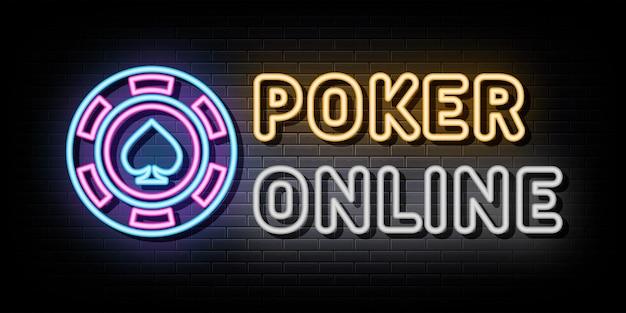 Modello di disegno vettoriale di insegne al neon online di poker stile neon
