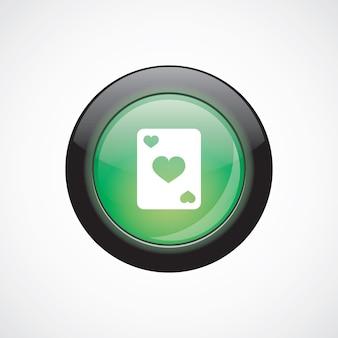 Pulsante lucido di poker segno icona verde. pulsante del sito web dell'interfaccia utente