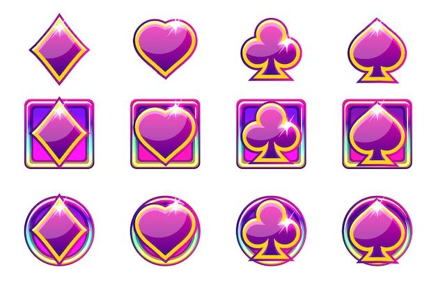 Simboli di poker di carte da gioco in viola, icone di app per l'interfaccia utente