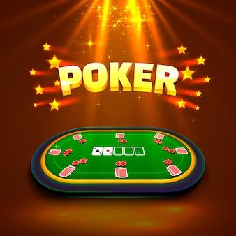 Tavolo da poker con le carte e le fiches su uno sfondo verde. illustrazione vettoriale